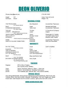 Acting Resume Template - Sample Musical theatre Resume Inspirationa theatre Resume Example