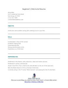 Acting Resume Template for Beginners - 23 Beginners Resume Template