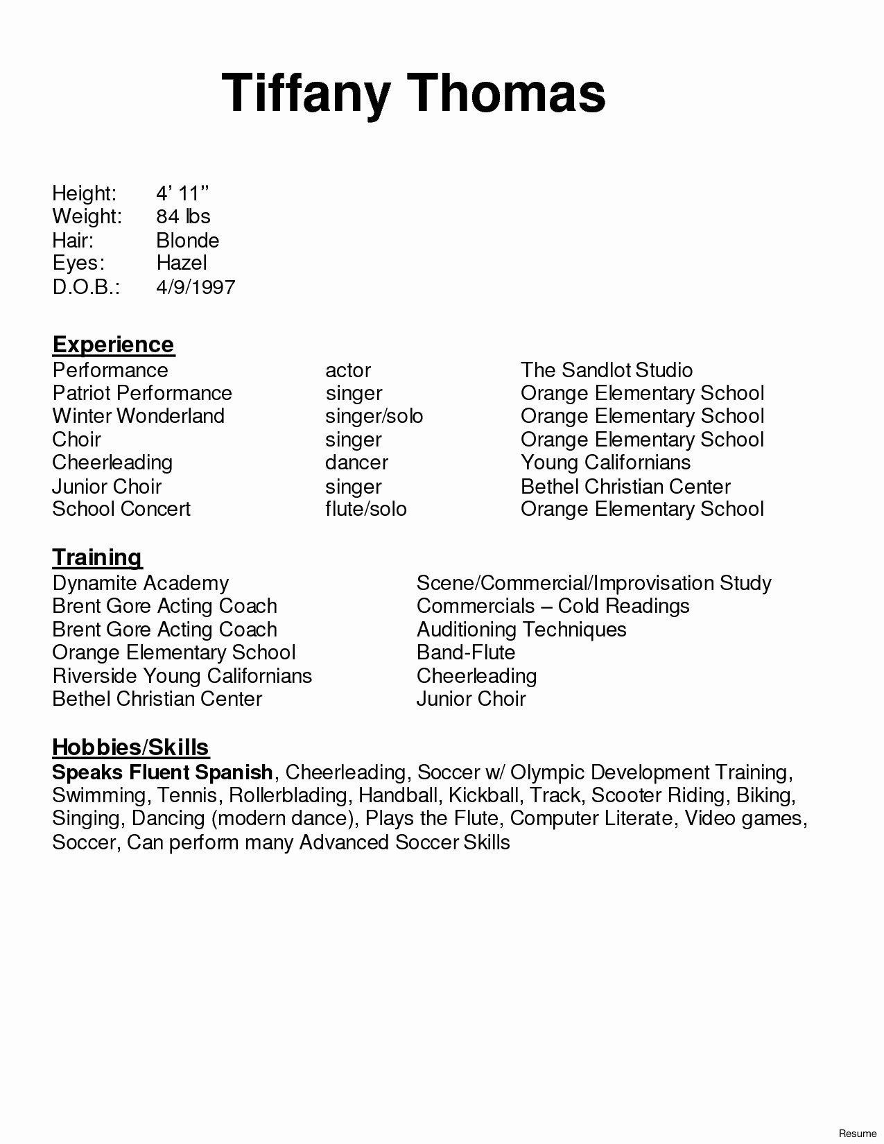 14 acting resume template google docs collection