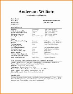 Actress Resume Template - Sample Child Actor Resume Inspirational Actors Resume format Elegant