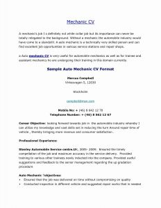 Auto Mechanic Resume Template - Student Resume Samples Inspirational Unique Resume for Highschool