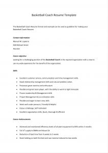 Basketball Coach Resume Template - College Basketball Coach Resume New College Basketball Coach Resume