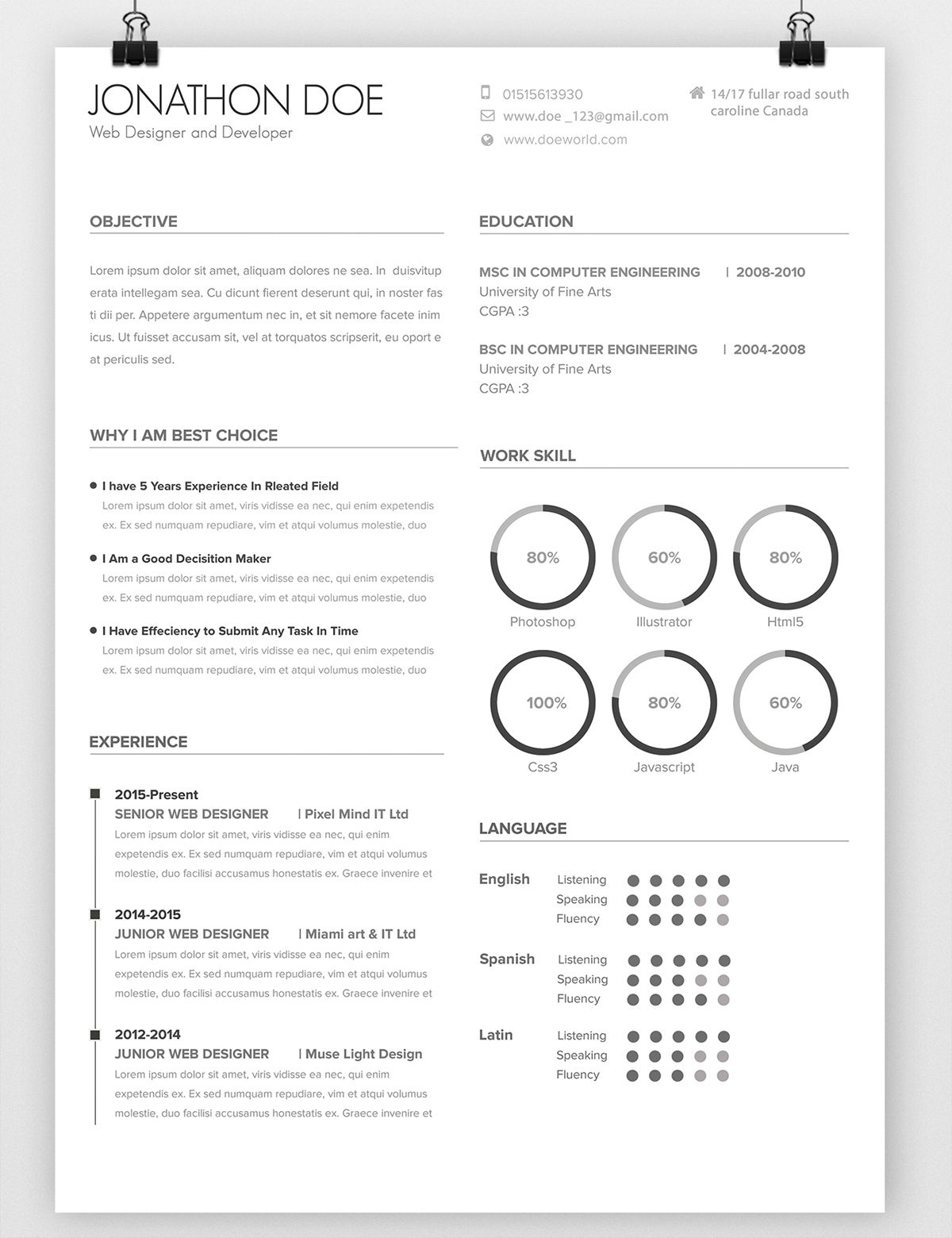 behance resume template example-Avada Minimal Resume on Behance 5-d