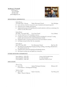 Church Resume Template - Download Fresh Pastoral Resume