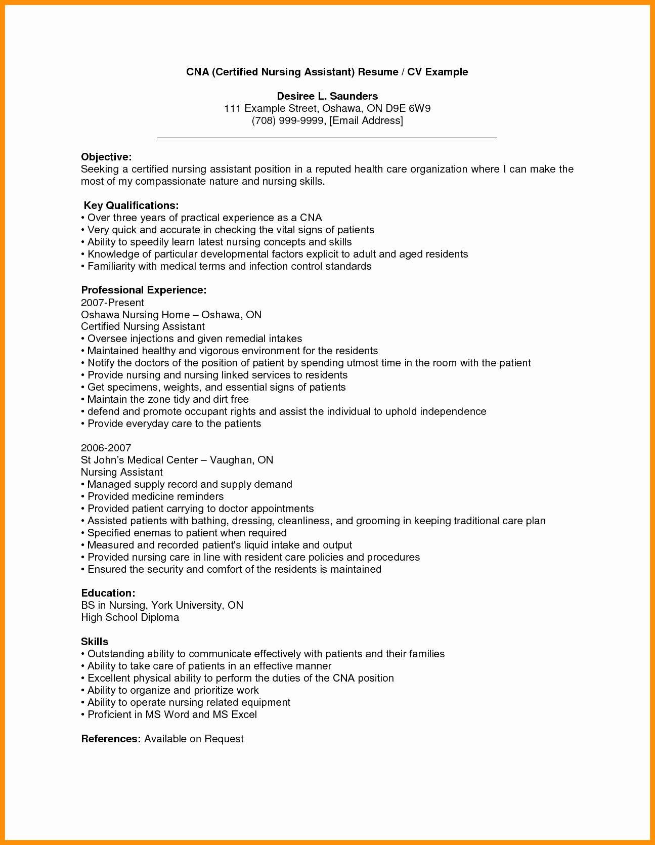 cna resume template microsoft word example-Sample Resume For Cna With Objective Example Resume Additional Skills Examples New Cna Resume Sample Unique 17-l
