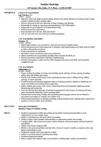 Cnc Machinist Resume Template - Cnc Machinist Resume Samples