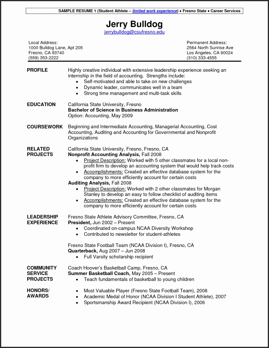 college athlete resume template Collection-College 17-r