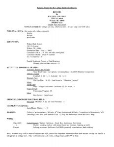 College athletic Resume Template - Example High School Resume Template for College Application