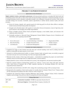 Construction Superintendent Resume Template - Construction Superintendent Resume Templates Sample Pdf Resume