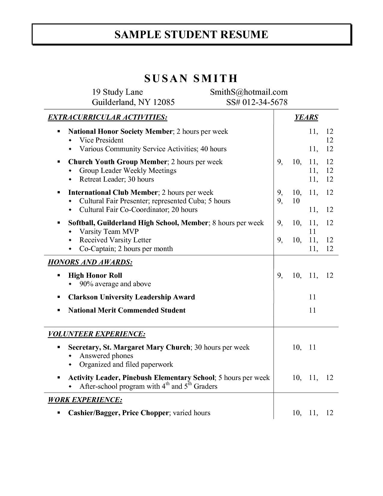11 extracurricular resume template collection