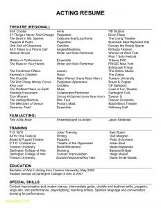 Film Actor Resume Template - Audition Resume format New 22 Audition Resume format Free Sample