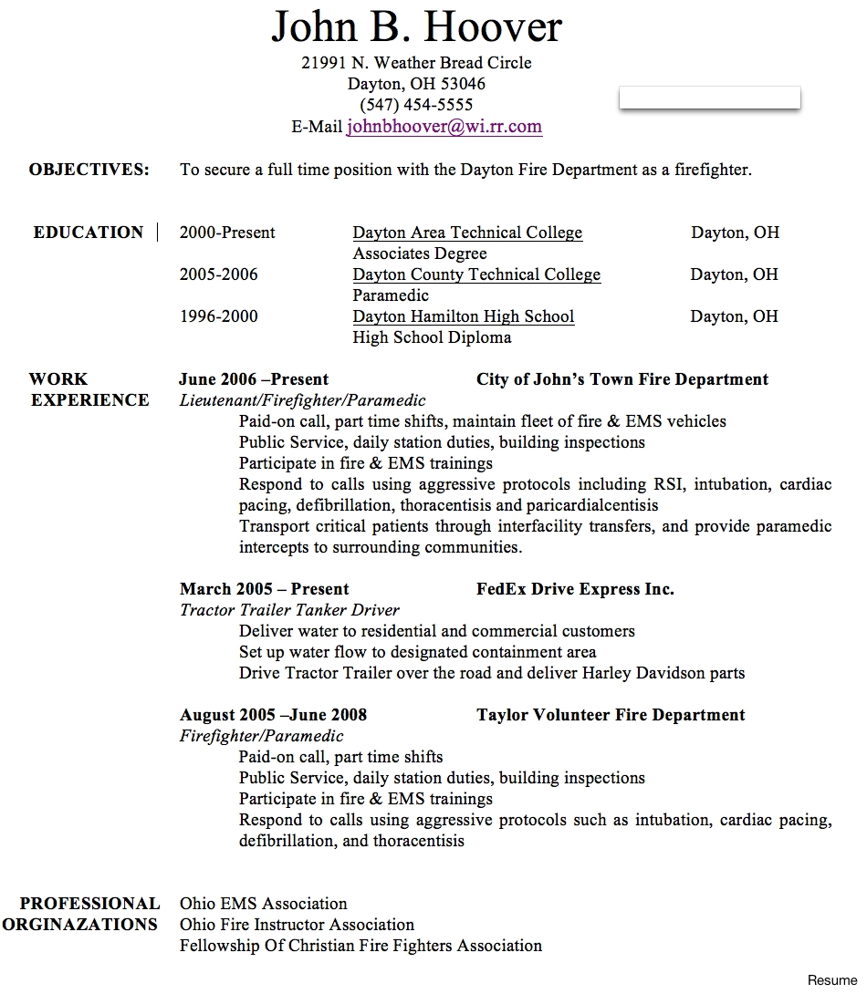 9 fire department promotional resume template ideas