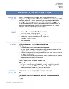 Food and Beverage Resume Template - Food and Beverage Supervisor Resume Best Food Beverage Manager