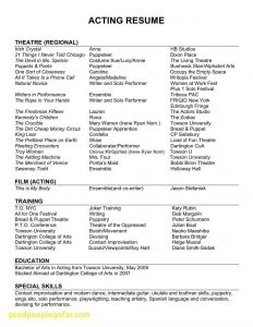 Google Docs Acting Resume Template - 20 Musical theatre Resume Template