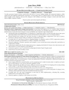 Human Resource Manager Resume Template - Human Resources Lounge Hsba