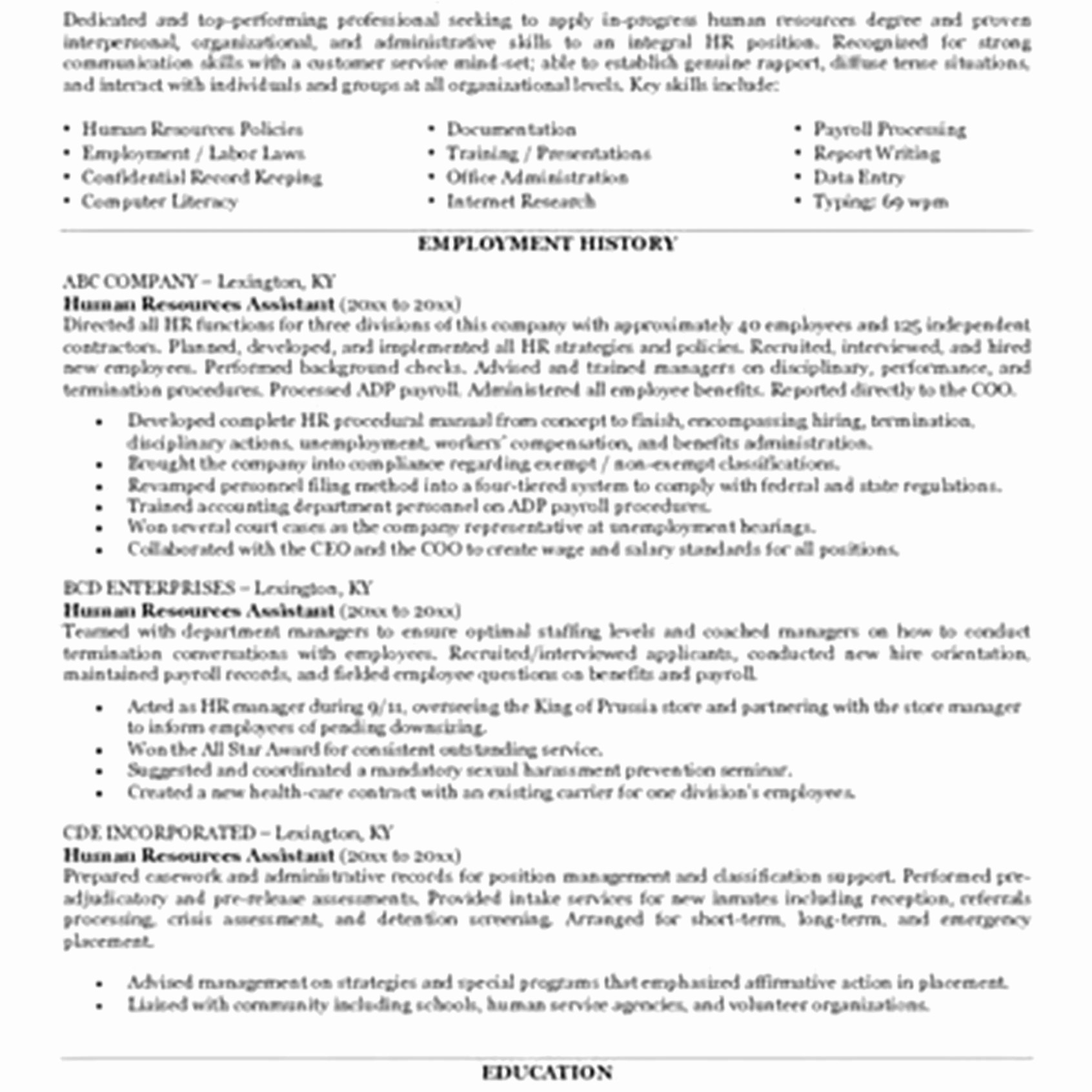 human resource resume template Collection-Sample Human Resources Manager Resume New Human Resources Manager Resume Sample New Human Resource Assistant 20-j