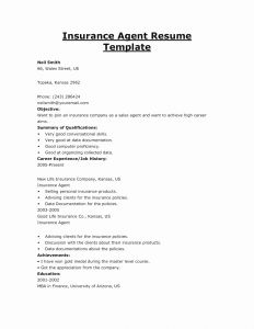 Insurance Agent Resume Template - Insurance Sales Agent Resume Awesome Insurance Agent Resume Template
