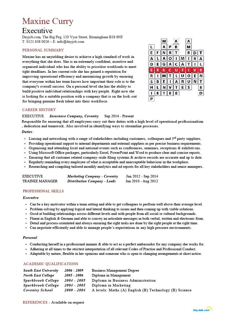 leeds resume template example-Executive CV Crossword template resume example senior chief director 14-o