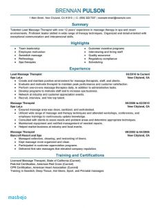 Massage Resume Template - Massage therapist Resume Example Inspirational Massage Resume