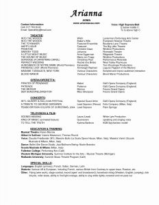 Performance Resume Template - Musicians Resume Template Save Musical theatre Resume Template
