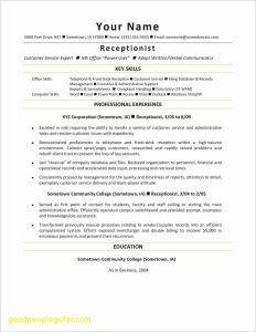 Receptionist Resume Template - Customer Service Resumes Beautiful Reception Resume Resume format