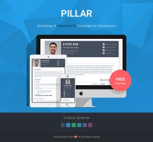 Responsive Resume Template - Pillar Free Bootstrap 4 Resume Cv theme for Developers Bootstrap