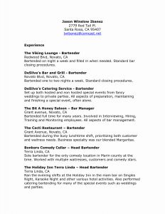 Resume Template Bartender - Hire A Bartender for A Wedding Elegant Bartending Resume Template