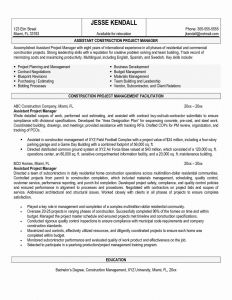 Resume Template for Construction Project Manager - New Project Manager Resume Samples