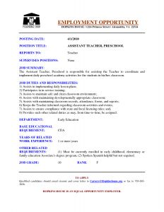 Resume Template for Teaching assistant - Preschool assistant Teacher Resume Examples Google Search