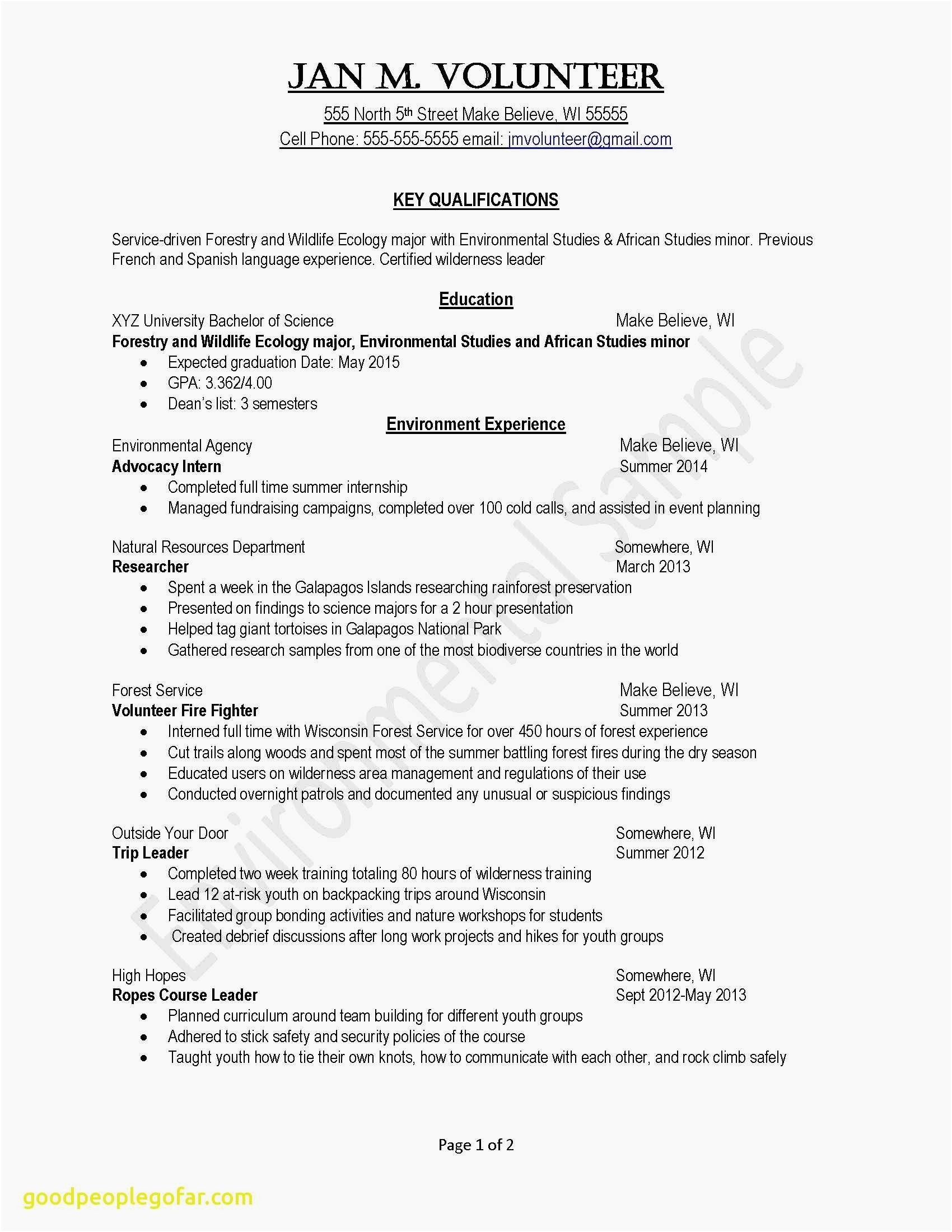 resume template volunteer work Collection-Fresh Examples Resumes Ecologist Resume 0d How to Do A Resume for A 20-t
