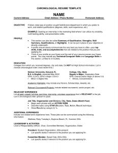 Reverse Chronological Resume Template Word - 19 Unique Reverse Chronological Resume