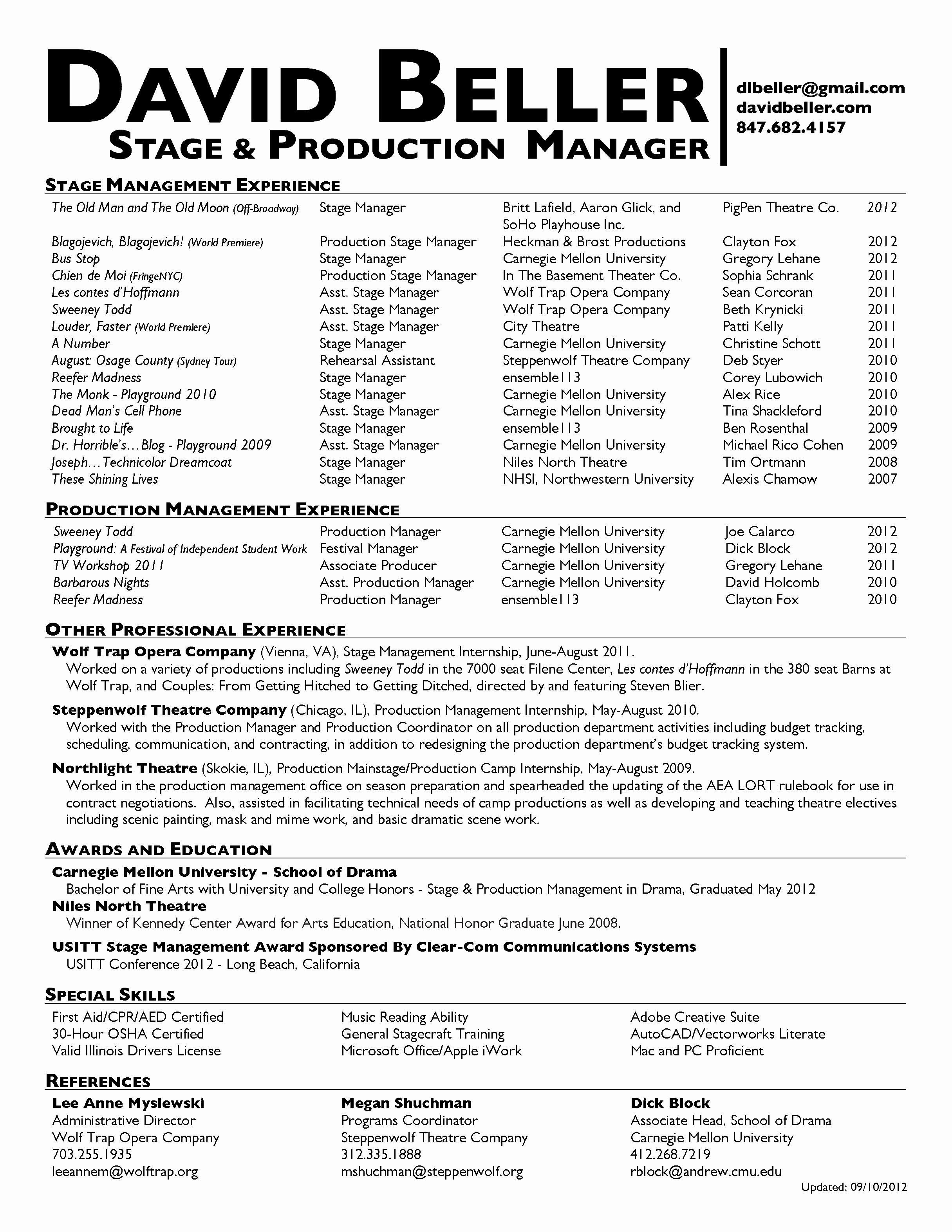 12 stage manager resume template samples