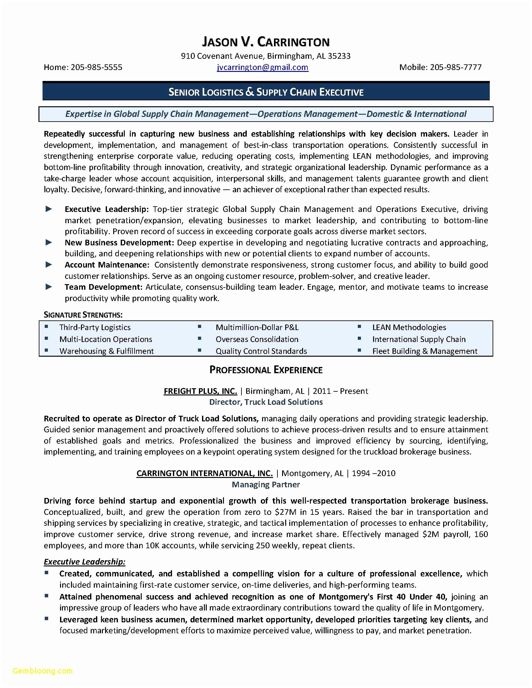 supply chain management resume template example-Resume format for Supply Chain Executive Unique New Resume Cv Executive Sample Luxury Resume Examples 0d 10-o