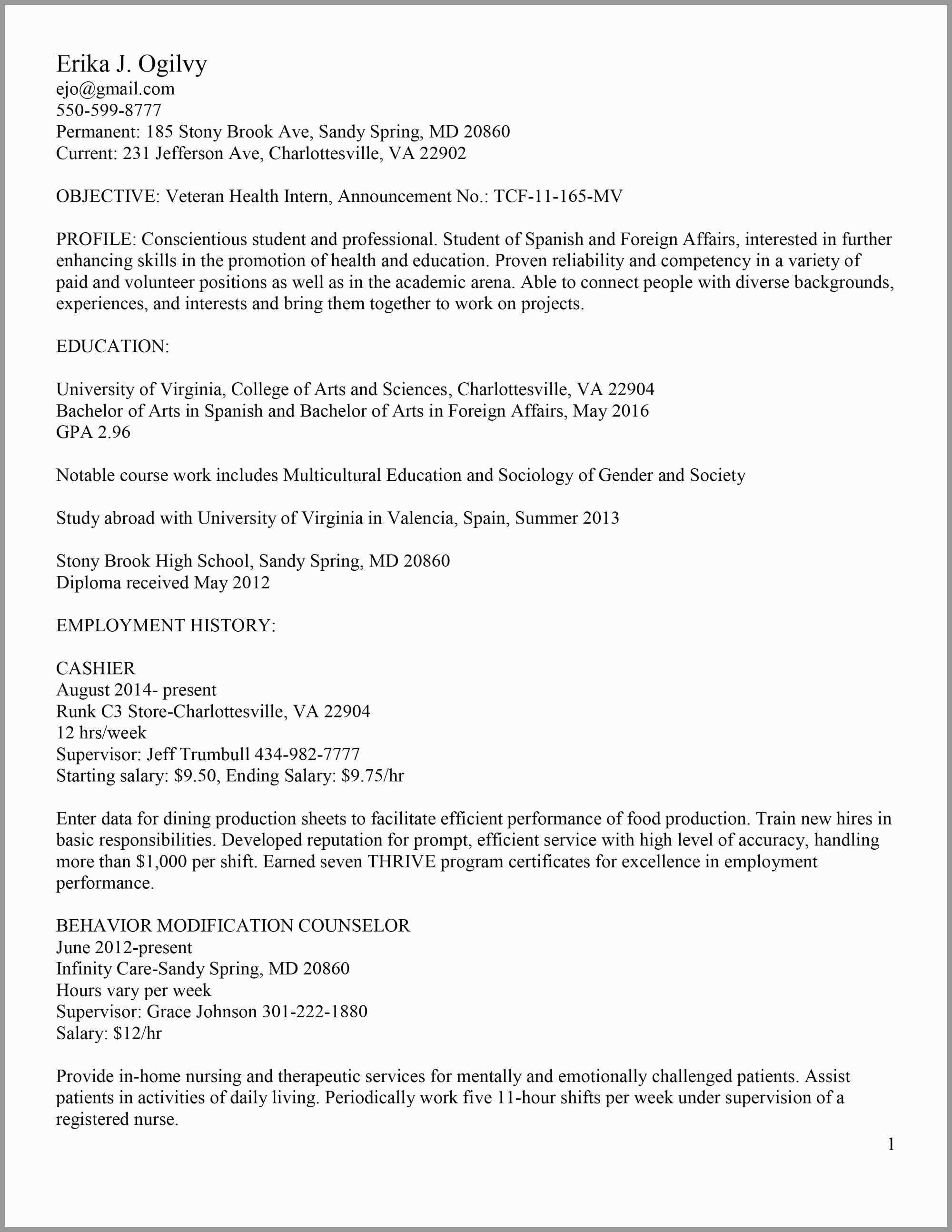 Resume Template Virginia Tech