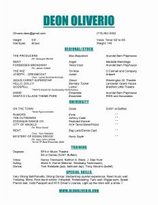 Theatre Tech Resume Template - Musical theatre Resume Template
