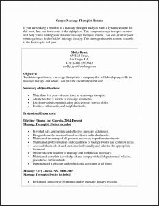 Therapist Resume Template - Massage therapist Resume Objective Resume Templates Massage