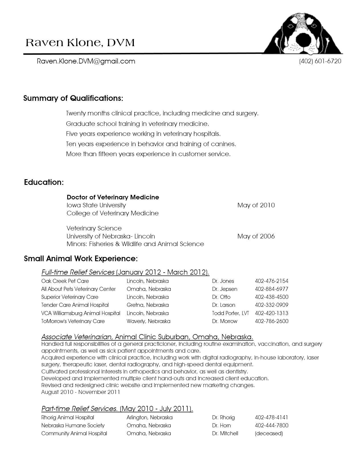 10 veterinarian resume template collection