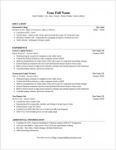 Wall Street Oasis Resume Template - Investment Banking Resume Template Tyneandweartravelfo